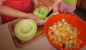 Melon Salad, scooping