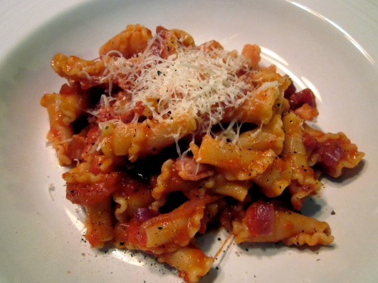 Campanelle w:onions, bacon & tomatoes