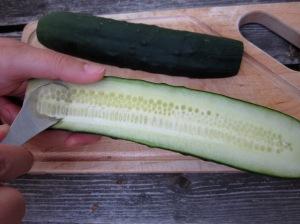 seeding a cucumber