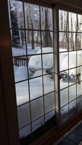 This is my porch. There is 21 1/2 inches of snow out there.